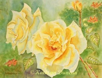 """Yellow Moonbeams"" Roses n;"