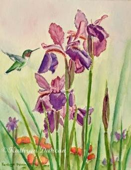 Wild Iris Nectar - Hummingbird and Iris