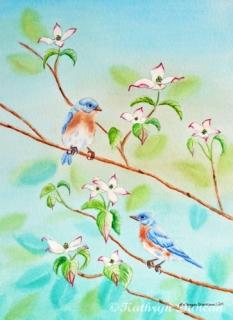 Bluebirds in Dogwood Tree II