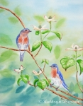 Bluebirds in Dogwood Tree