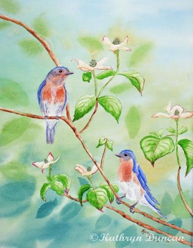 Bluebirds in Dogwood Tree