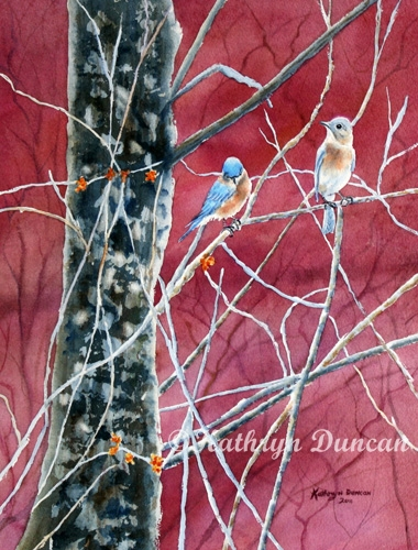 Bluebirds in Early Spring