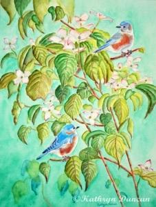 Bluebirds in Flowering Dogwood Tree