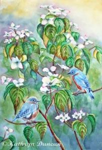 Wild Bluebirds in White Dogwood Tree