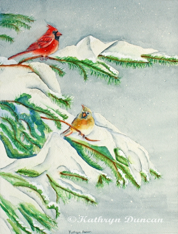 Snowy Pines and Cardinals