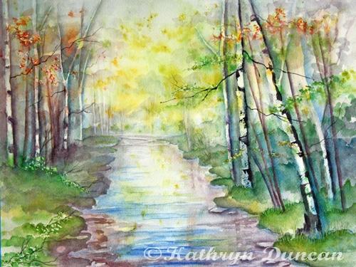 """Autumn Birch"" watercolor on paper 12""x16"""