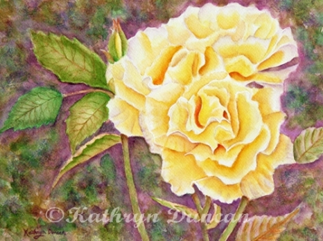 """Ramblin Rose"" watercolor on paper 9""x12"" matted to 12""x 16"""