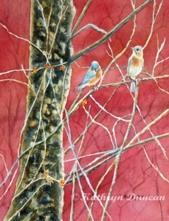Bluebirds In Early Spring