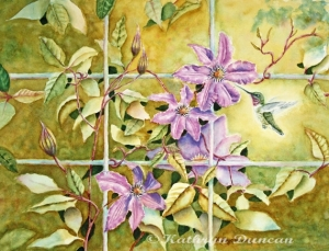 Hummingbird and Clematis