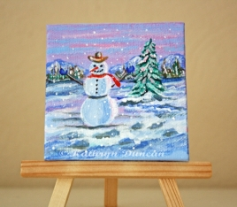 Snowman Winter Landscape