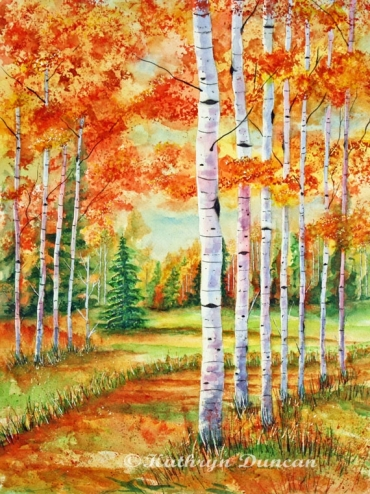 """Autumn Birch Path"""