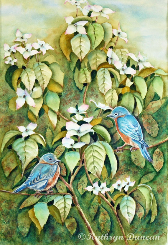 Wild Blues in White Dogwood II - Bluebirds