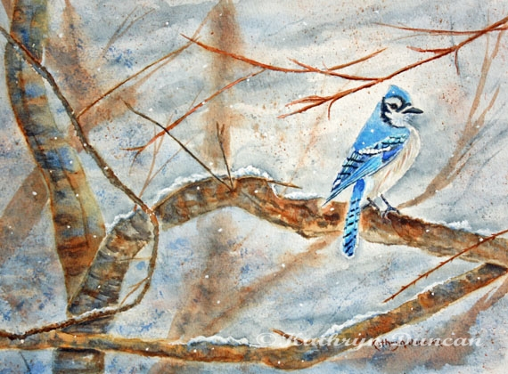 Winter Tree Hugger - Blue Jay