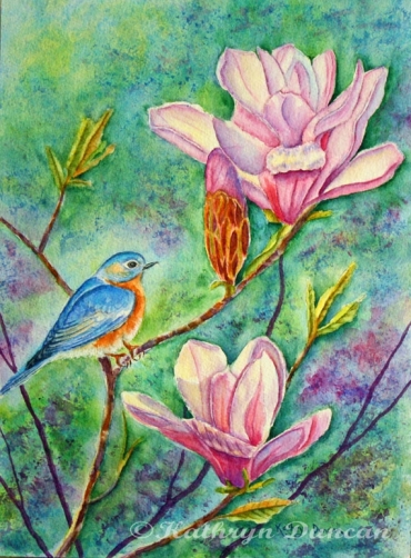 """Bluebird in Magnolia Tree"""