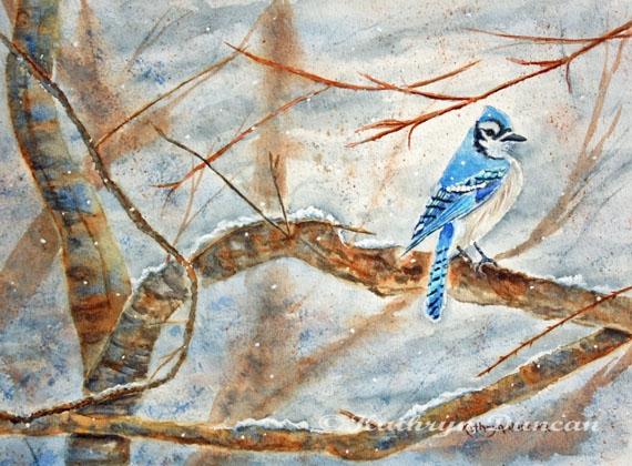 """""""Winter Tree Hugger"""" Blue Jay Bird"""